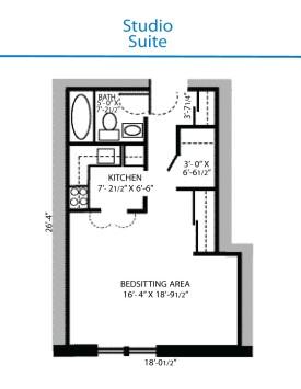 Floor Plan Of Studio Suite Quinte Living Centre