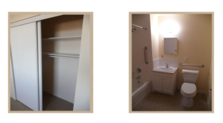View of accessible one bedroom suite closet and bathroom