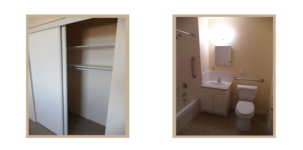 Interiors of the accessible one bedroom suite quinte for Closet bathroom suites