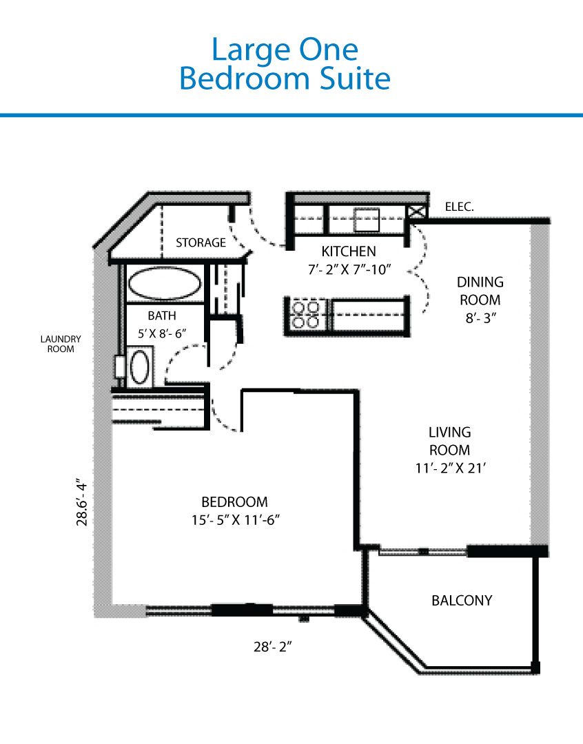 Floor plan of the large one bedroom suite quinte living for 1 bedroom floor plans