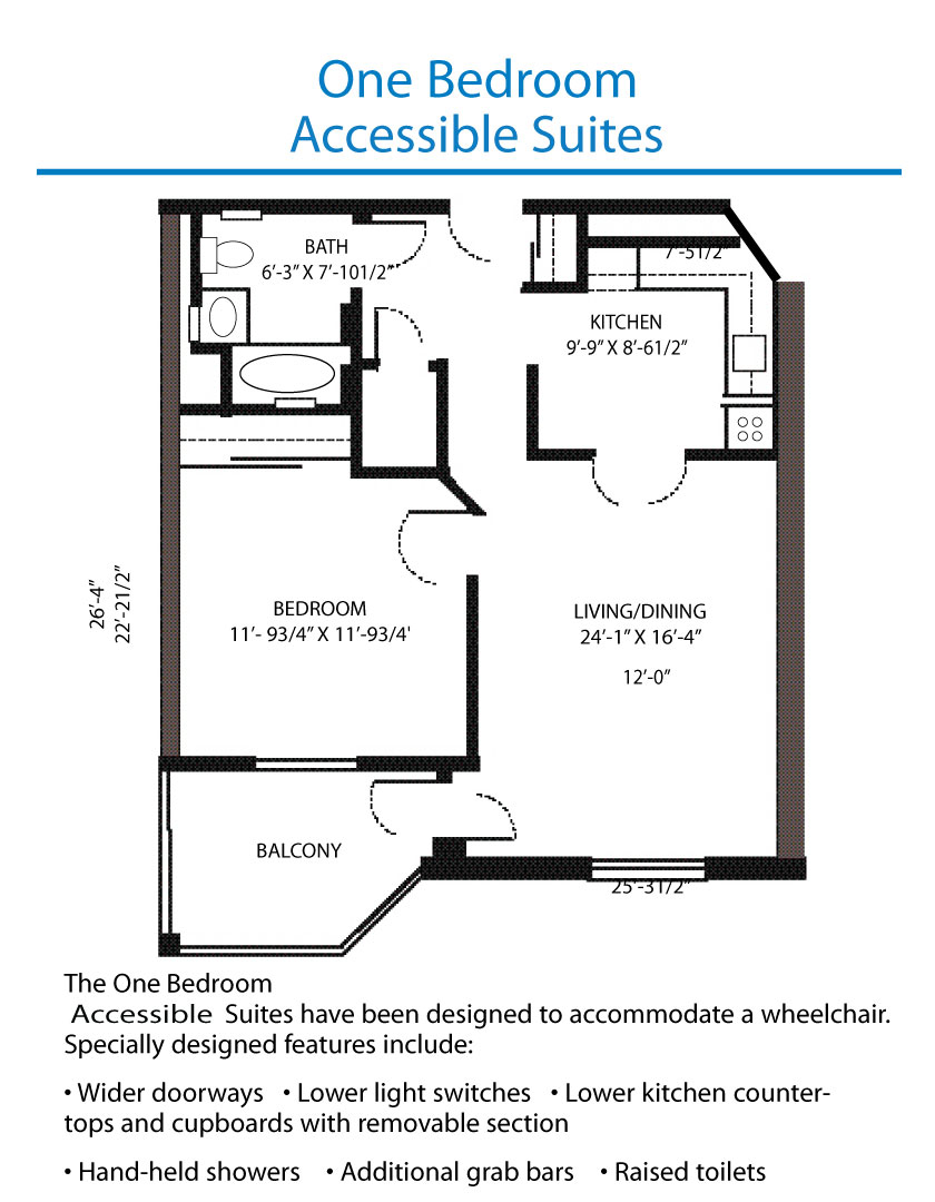 Floor plan of the accessible one bedroom suite quinte for 1 bedroom floor plans