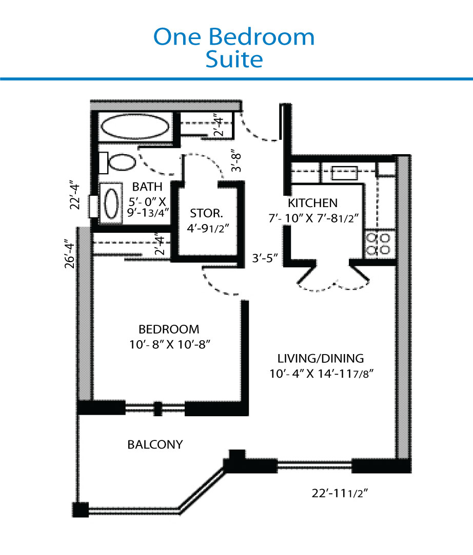 Floor plan of the one bedroom suite quinte living centre for One bedroom floor plans