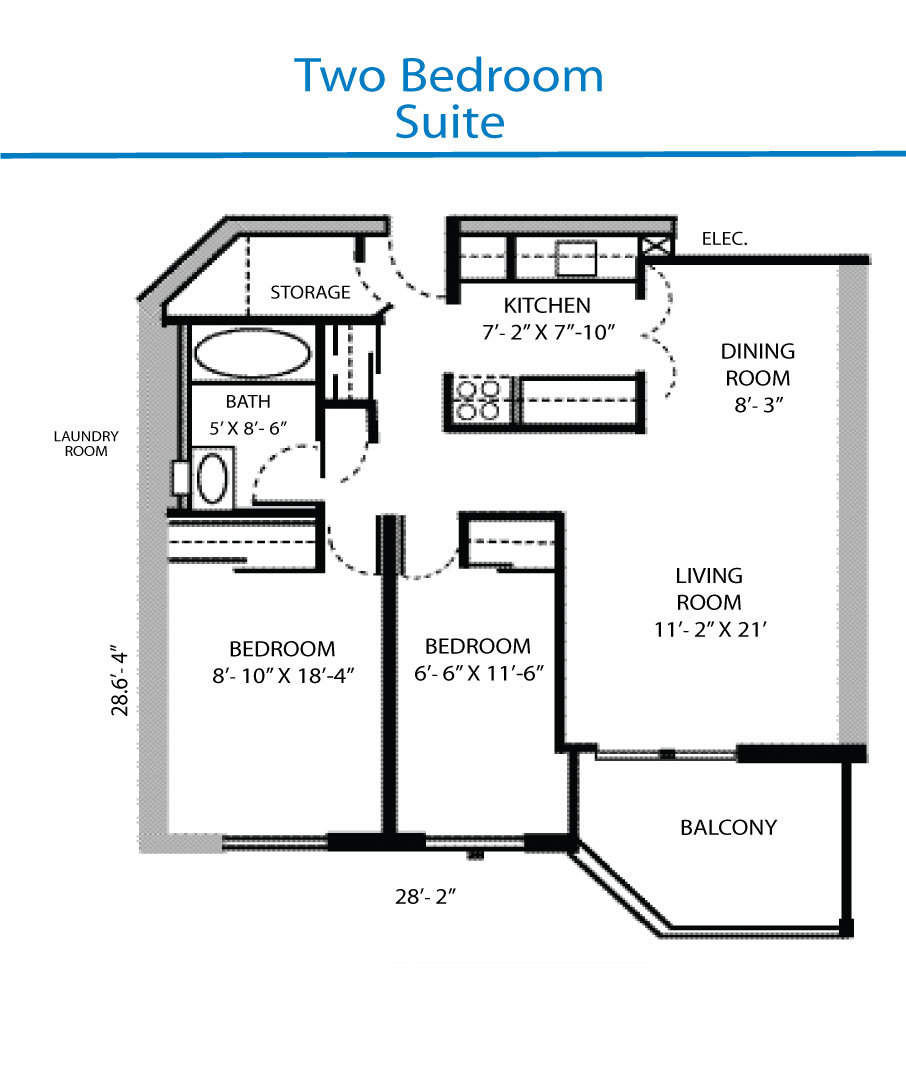 Floor plan of the two bedroom suite quinte living centre - Bed room plan ...
