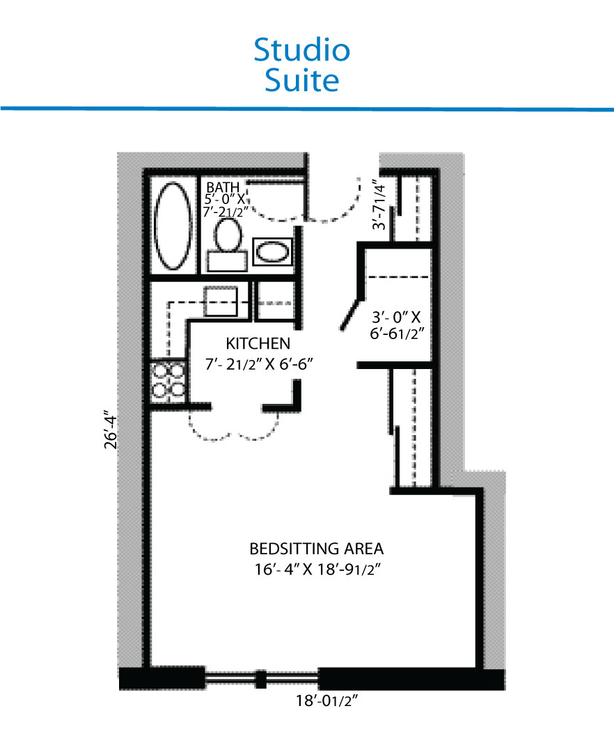 floor plan of studio suite quinte living centre. Black Bedroom Furniture Sets. Home Design Ideas